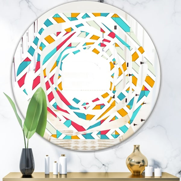 Designart 'Abstract Retro Geometry I' Modern Round or Oval Wall Mirror - Whirl
