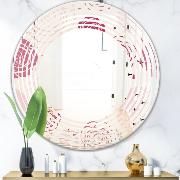 Designart 'roses pattern' Modern Round or Oval Wall Mirror - Wave