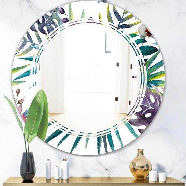 Designart 'Retro Floral Botanical Design II' Modern Round or Oval Wall Mirror - Triple C - Multi