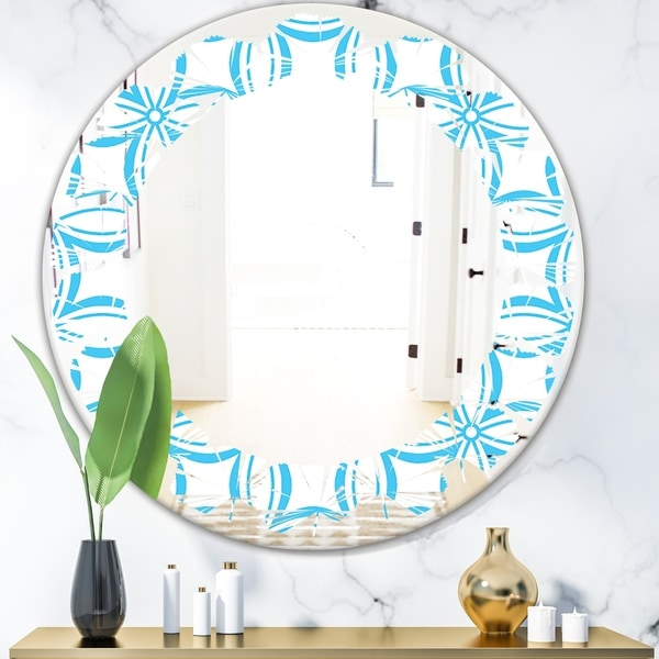 Designart 'Retro Pattern Abstract Design II' Modern Round or Oval Wall Mirror - Leaves