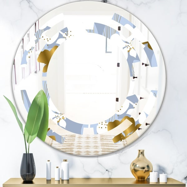 Designart 'Orchid blossom color pattern' Modern Round or Oval Wall Mirror - Space