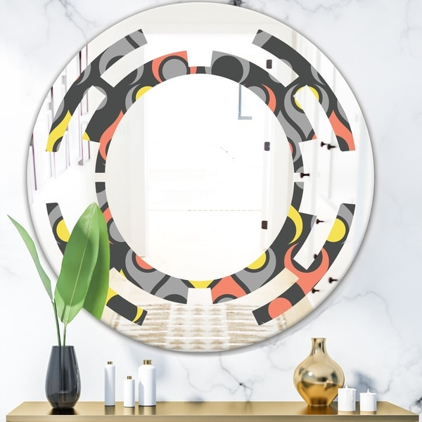 Designart 'Retro Abstract Drops I' Modern Round or Oval Wall Mirror - Space