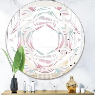 Designart 'Retro Geometrical Abstract Pattern I' Modern Round or Oval Wall Mirror - Whirl