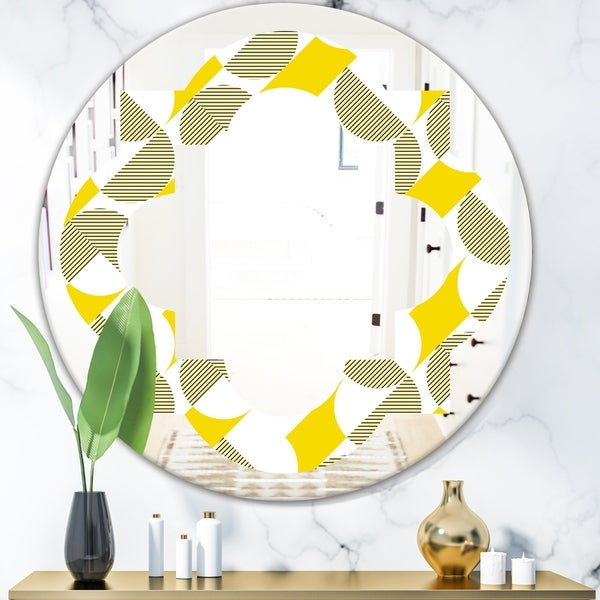 Designart 'Abstract Retro Geometric II' Modern Round or Oval Wall Mirror - Quatrefoil