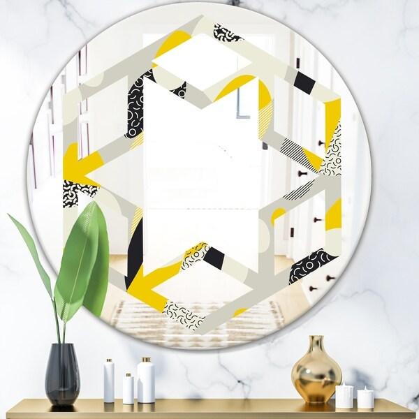 Designart 'Abstract Design Retro Pattern V' Modern Round or Oval Wall Mirror - Hexagon Star