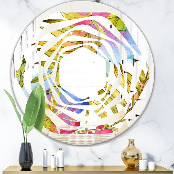 Designart 'Tropical Foliage IV' Cottage Round or Oval Wall Mirror - Whirl - Multi