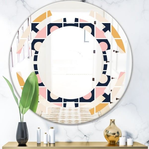 Designart 'Geometrical Retro Design I' Modern Round or Oval Wall Mirror - Space