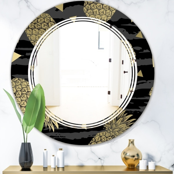Designart 'Golden Pineapple On Black' Modern Round or Oval Wall Mirror - Triple C
