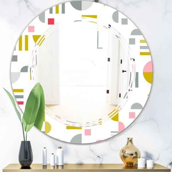 Designart 'Retro Abstract Design XVI' Modern Round or Oval Wall Mirror - Triple C