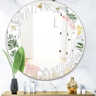 Designart 'Pineappple On Tropical Leaves' Modern Round or Oval Wall Mirror - Leaves