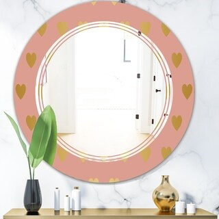 Designart 'Gold Hearts On Pink' Modern Round or Oval Wall Mirror - Triple C