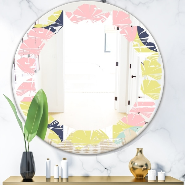 Designart 'Retro Pastel Circular Pattern I' Modern Round or Oval Wall Mirror - Leaves