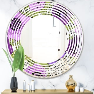 Designart 'Purple Retro Fantasy Flowers' Cottage Round or Oval Wall Mirror - Wave