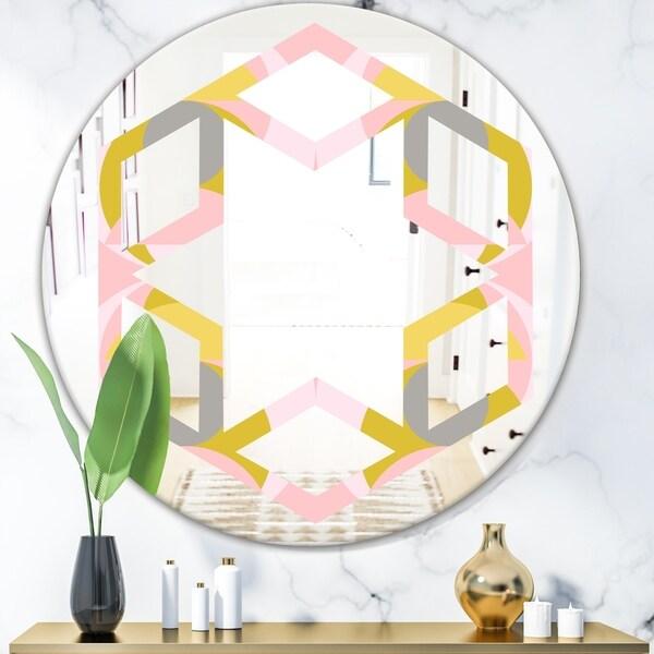 Designart 'Retro Pastel Circular Pattern IV' Modern Round or Oval Wall Mirror - Hexagon Star