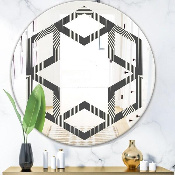 Designart 'Mimimal Black and White Design III' Modern Round or Oval Wall Mirror - Hexagon Star