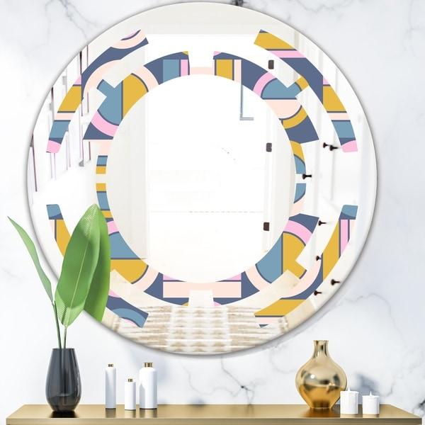 Designart 'Retro Circular Design I' Modern Round or Oval Wall Mirror - Space