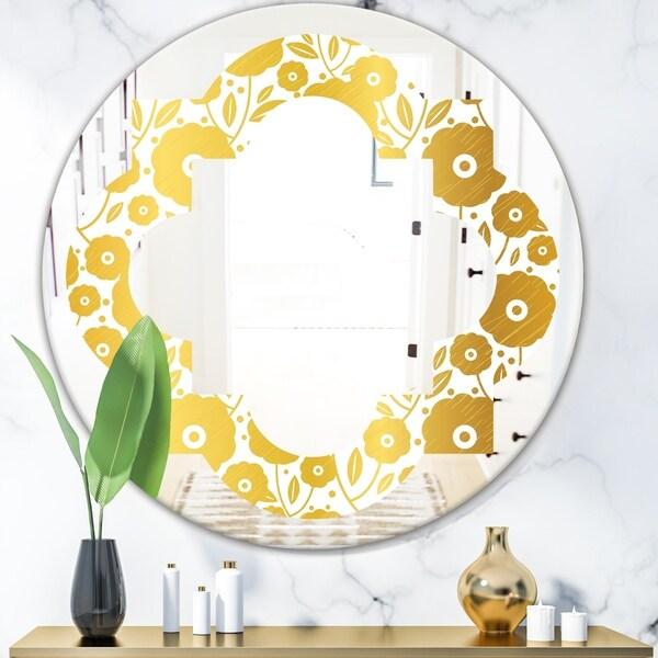 Designart 'Golden Floral I' Modern Round or Oval Wall Mirror - Quatrefoil
