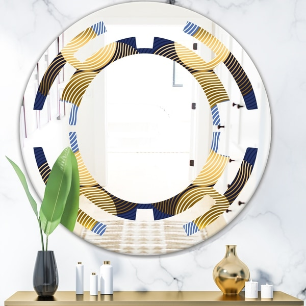 Designart 'Retro Luxury Waves In Gold and Blue II' Modern Round or Oval Wall Mirror - Space