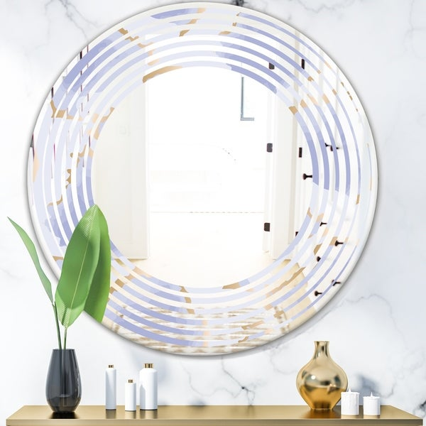 Designart 'Pastel blue and gold abstract shapes pattern' Modern Round or Oval Wall Mirror - Wave