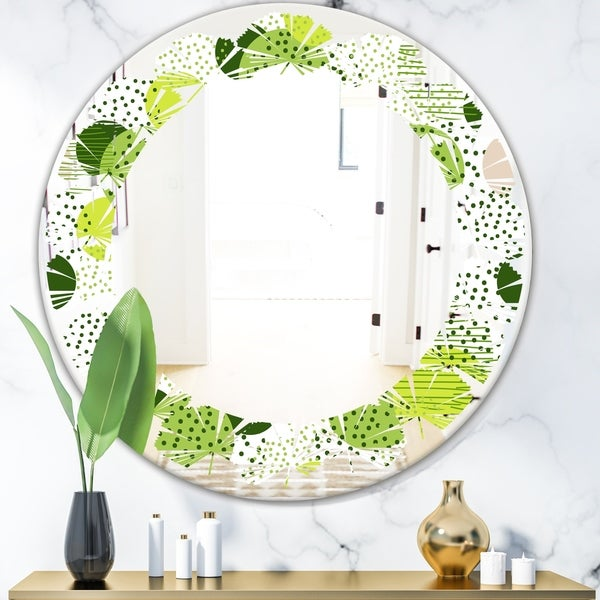 Designart 'Circular Abstract Retro Geometric X' Modern Round or Oval Wall Mirror - Leaves