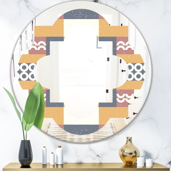 Designart 'Retro Geometric Design VI' Modern Round or Oval Wall Mirror - Quatrefoil