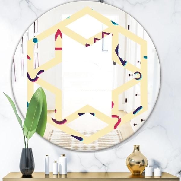 Designart 'Retro Abstract Pattern Design VI' Modern Round or Oval Wall Mirror - Hexagon Star