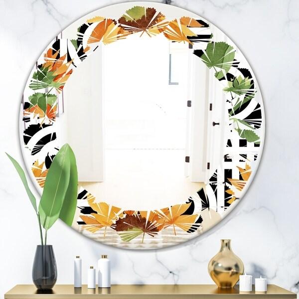 Designart 'Retro Floral Botanical II' Modern Round or Oval Wall Mirror - Leaves