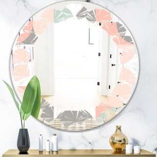 Designart 'Retro Pastel Circular Pattern II' Modern Round or Oval Wall Mirror - Leaves