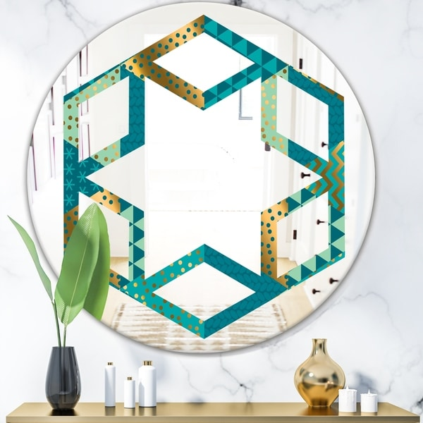 Designart 'Gold and Blue Dynamics I' Modern Round or Oval Wall Mirror - Hexagon Star