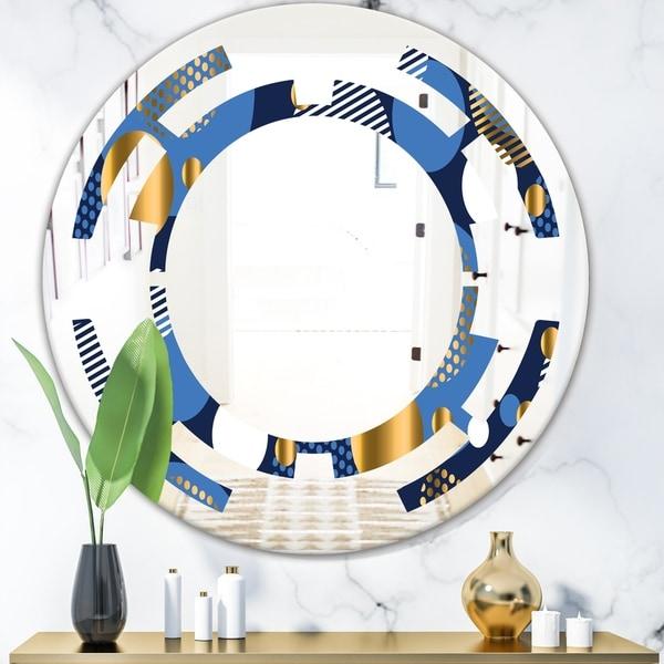 Designart 'Circular Abstract Retro Geometric XI' Modern Round or Oval Wall Mirror - Space
