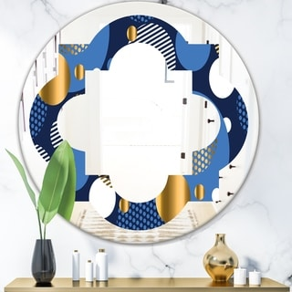 Designart 'Circular Abstract Retro Geometric XI' Modern Round or Oval Wall Mirror - Quatrefoil