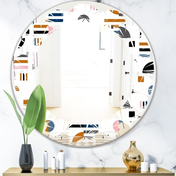Designart 'Retro Abstract Design XI' Modern Round or Oval Wall Mirror - Leaves - Multi