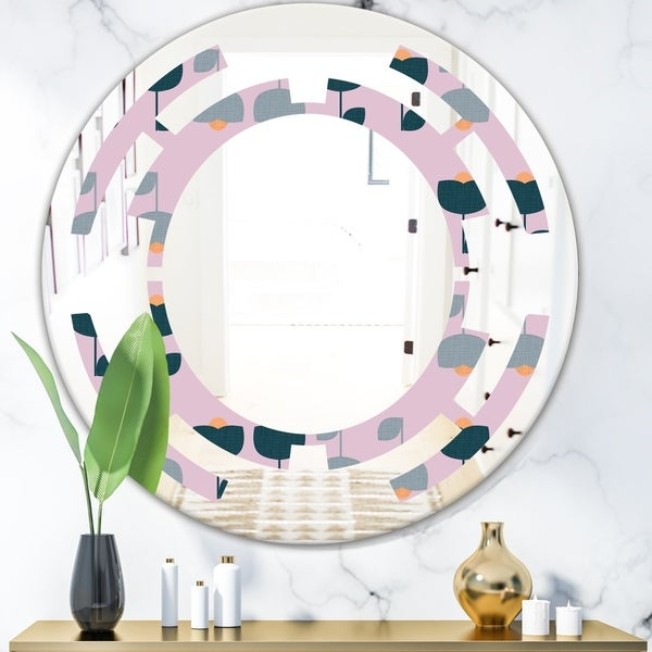 Designart 'Retro Floral Pattern XIII' Modern Round or Oval Wall Mirror - Space