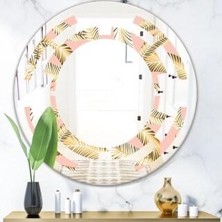 Designart 'Golden Foliage IV' Modern Round or Oval Wall Mirror - Space