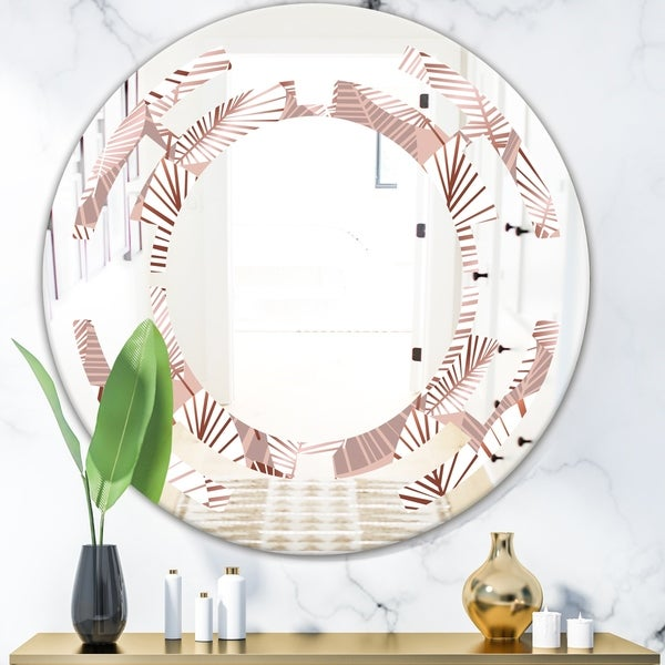 Designart 'Golden Tropical Pattern IV' Modern Round or Oval Wall Mirror - Space