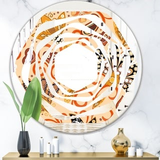 Designart 'Retro Indian Floral Batik III' Modern Round or Oval Wall Mirror - Whirl