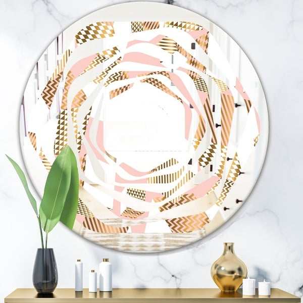Designart 'Gold and Rose Cubes I' Modern Round or Oval Wall Mirror - Whirl