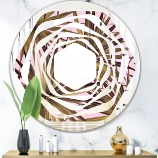 Designart 'Tropical Leaves On Pink' Modern Round or Oval Wall Mirror - Whirl