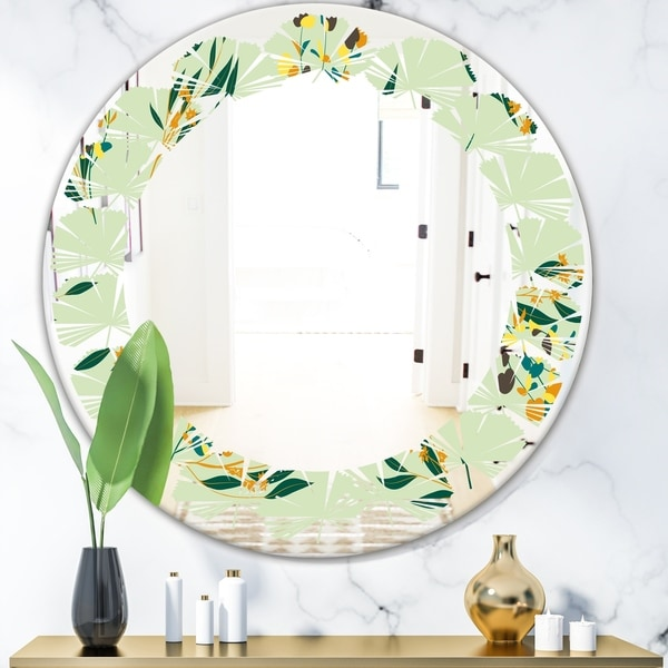 Designart 'Bright Eucalyptus Floral Pattern III' Cottage Round or Oval Wall Mirror - Leaves