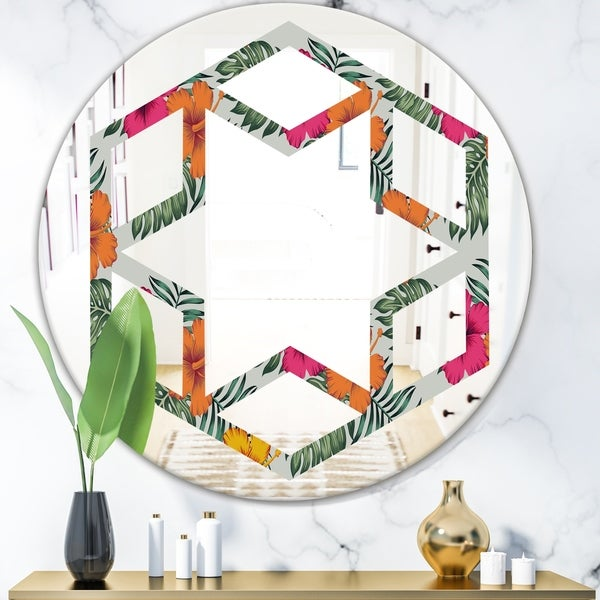 Designart 'Retro tropical Leaves III' Cottage Round or Oval Wall Mirror - Hexagon Star