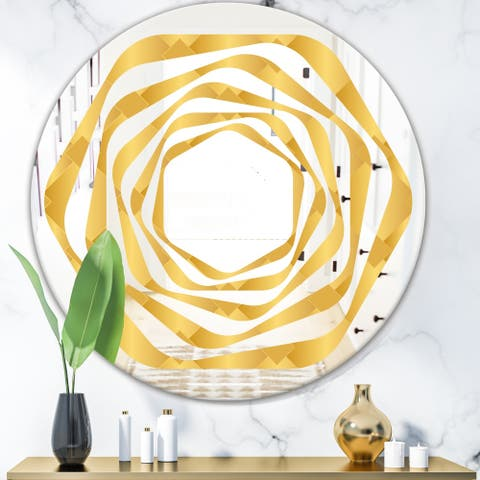 Designart 'Golden Geometric I' Modern Round or Oval Wall Mirror - Whirl