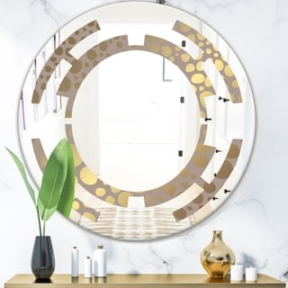 Designart 'Golden Marble Design III' Modern Round or Oval Wall Mirror - Space