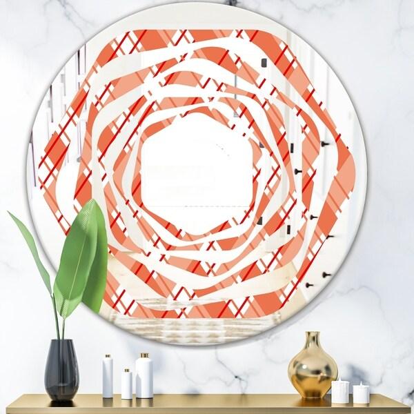 Designart 'Retro Checkered Pattern I' Modern Round or Oval Wall Mirror - Whirl