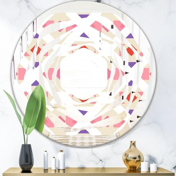 Designart 'Triangular Retro Design VII' Modern Round or Oval Wall Mirror - Whirl