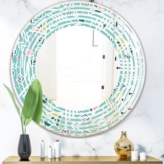 Designart 'Pastel Tribal Retro Pattern' Modern Round or Oval Wall Mirror - Wave