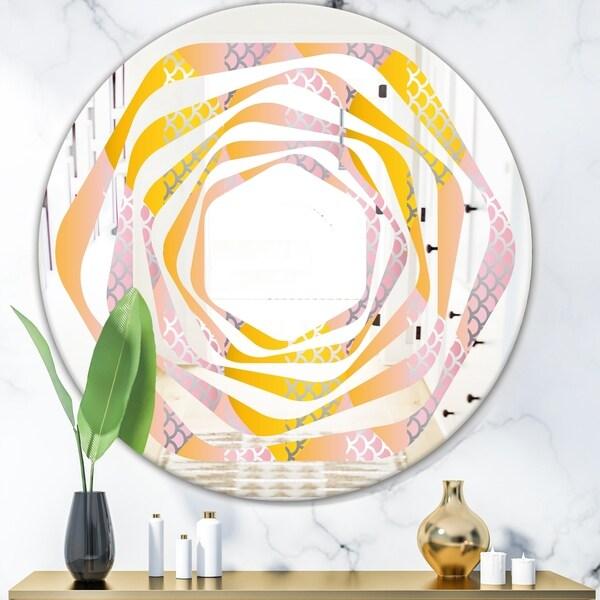 Designart 'Golden Geometrical Diamond Pattern IV' Modern Round or Oval Wall Mirror - Whirl