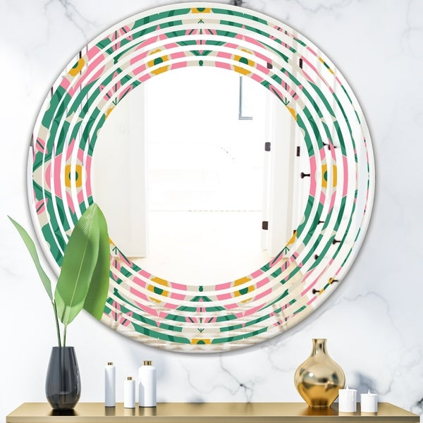 Designart 'retro pattern with flowers and leaves' Modern Round or Oval Wall Mirror - Wave