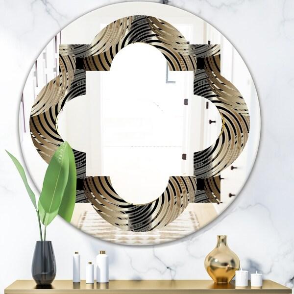 Designart 'Circular Geometric Retro Abstract I' Modern Round or Oval Wall Mirror - Quatrefoil