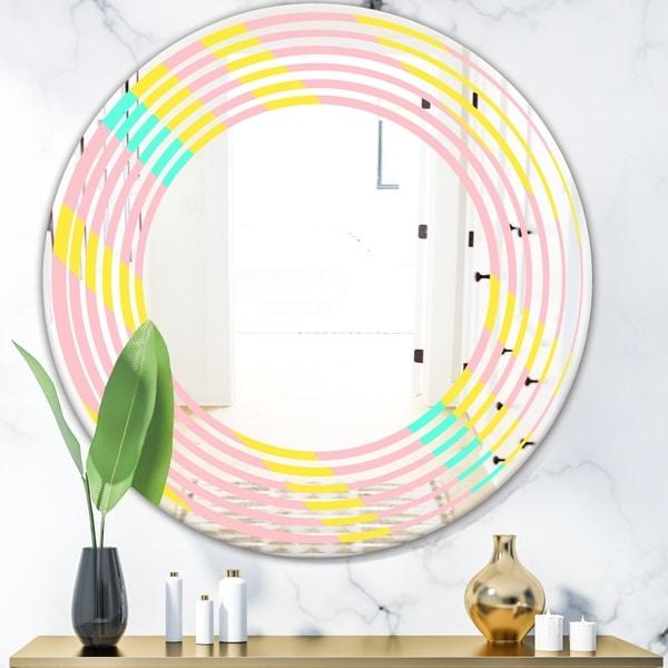 Designart 'Memphis Retro Neon Pattern' Modern Round or Oval Wall Mirror - Wave