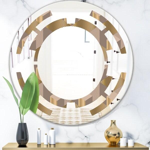 Designart 'Retro Square Design V' Modern Round or Oval Wall Mirror - Space